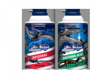 Dinosaur themed shaving cream cans